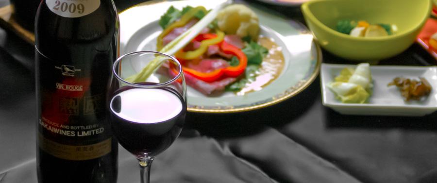 赤湯の名産ワインと一緒に夕食をお楽しみ下さい